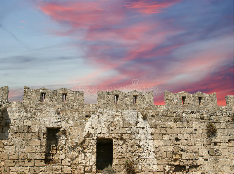 Medieval City Walls In Rhodes Town, Greece Stock Photo