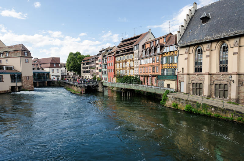 Medieval cityscape of beautiful half-timbered houses in petite France, Strasbourg stock images