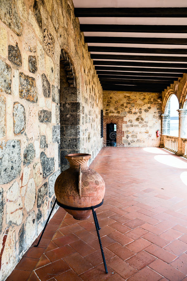 Medieval clay vase in the castle gallery. stock images
