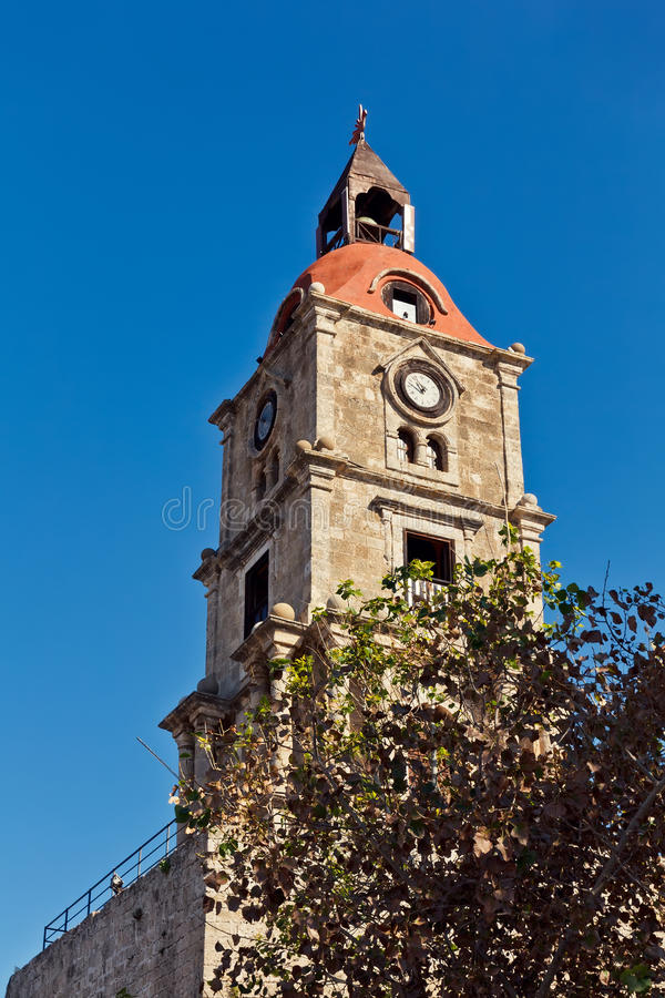 Medieval clock tower. Medieval castle clock tower, Rhodes, Greece royalty free stock photo