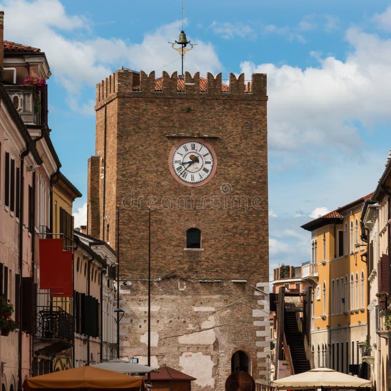 Medieval Clock Tower in Mestre near Venice - Italy royalty free stock photo