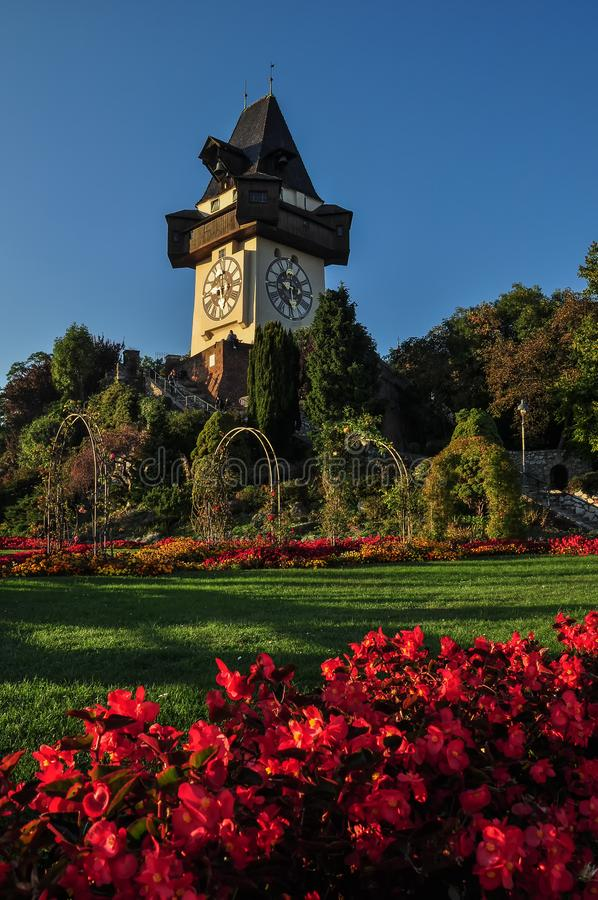 The medieval Clock tower `Uhrturm` in Graz royalty free stock photo