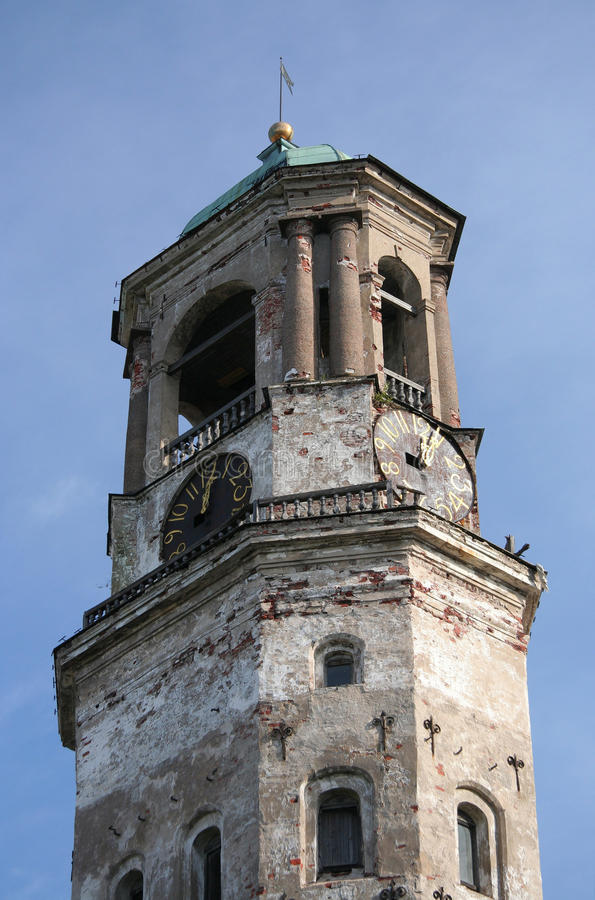 Medieval clock tower in Vyborg stock image