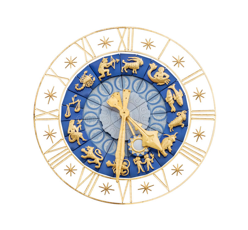 Medieval clock with Zodiac signs cutout. Medieval clock with gilt Roman numerals and Zodiac signs isolated on white background royalty free stock photo