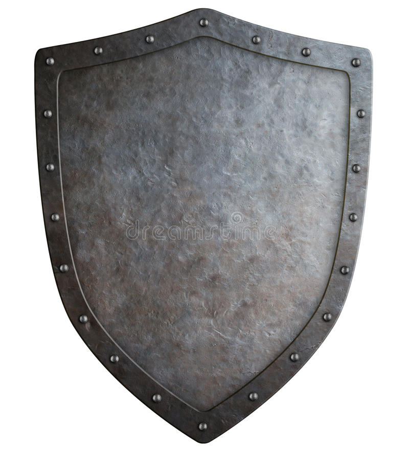 Medieval coat of arms shield 3d illustration isolated. Big medieval coat of arms isolated on white 3d illustration stock image