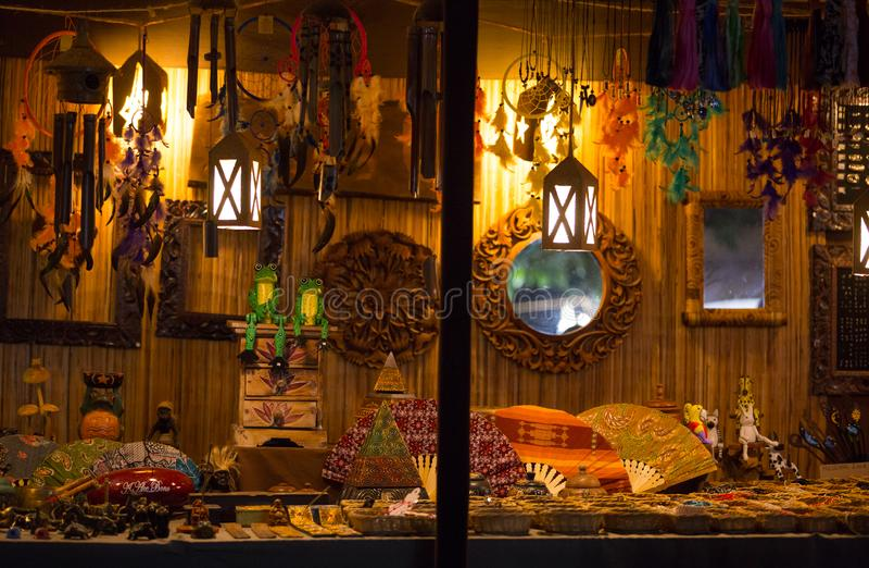 Medieval colored souvenirs market during the event `Viagem Medieval em Terra de Santa Maria` in Santa Maria da Feira, Aveiro. Medieval colored souvenirs market royalty free stock photography