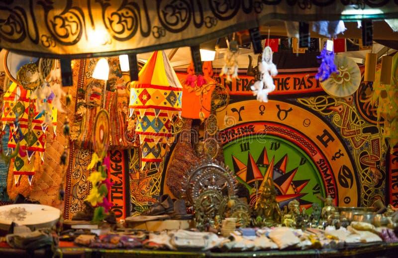 Medieval colored souvenirs market during the event `Viagem Medieval em Terra de Santa Maria` in Santa Maria da Feira, Aveiro. Medieval colored souvenirs market stock images