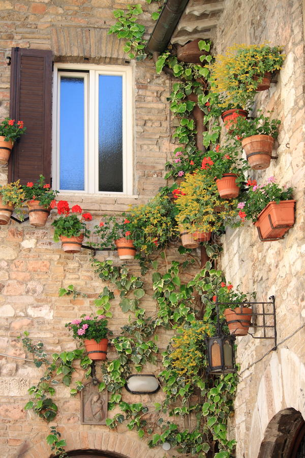 Medieval corner in Assisi stock images