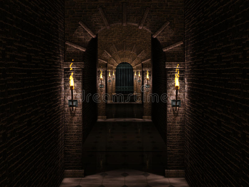 Medieval corridor and iron castle gate royalty free illustration
