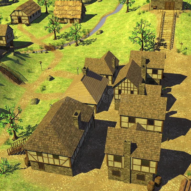 Medieval country village. 3d render of medieval country village royalty free illustration