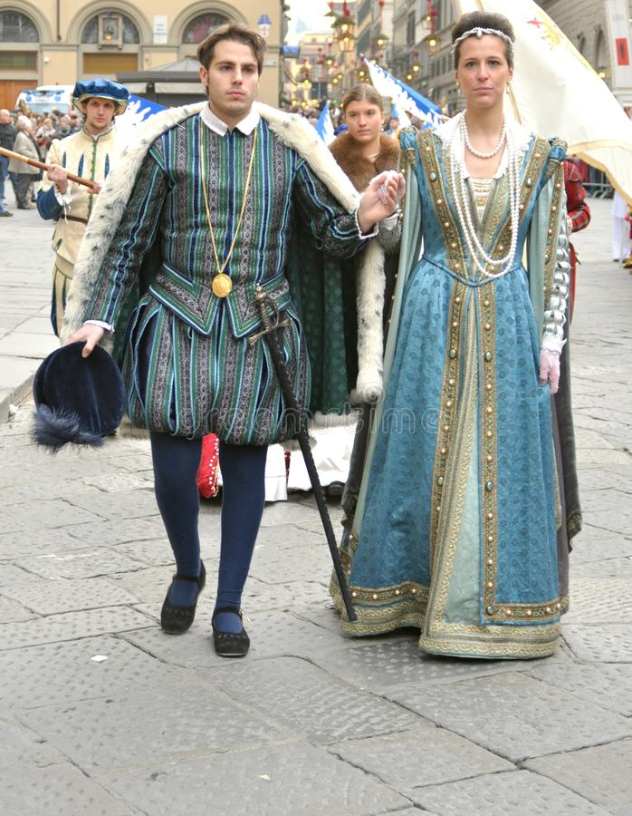 Medieval couple in a reenactment in Italy. Medieval reenactment is a form of historical reenactment that focuses on re-enacting European history in the period royalty free stock photos