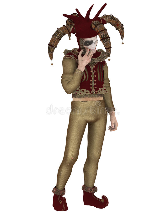 Medieval Court Jester 2. 3D illustration of a medieval court jester isolated on white background stock illustration