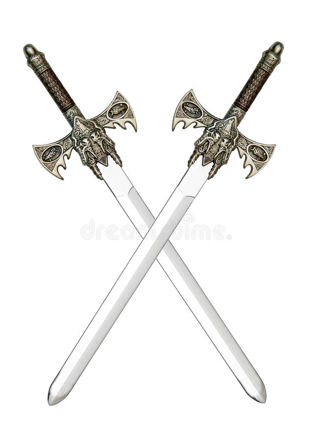 Medieval cross swords. Two medieval swords isolated on a white backgroud stock photo