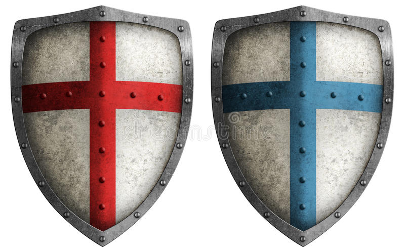 Medieval crusader shield isolated. Medieval crusader shield illustration isolated on white stock images