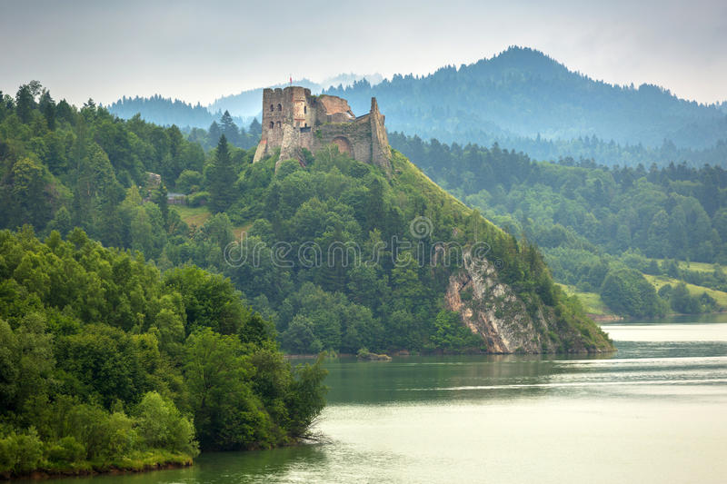 Medieval Czorsztyn castle. At the lake in Poland stock images
