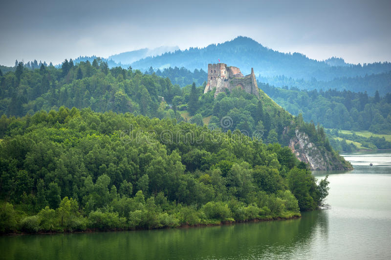Medieval Czorsztyn castle. At the lake in Poland royalty free stock image