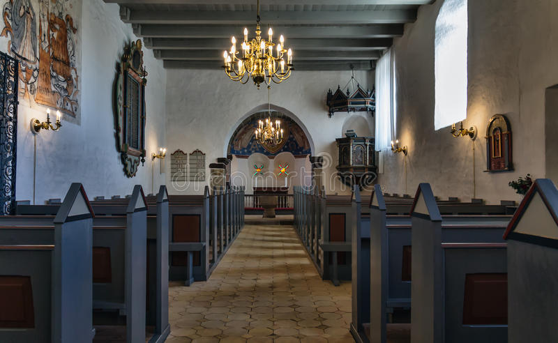 Medieval Danish church, interior. Interior of Medieval Danish church in Staby near Holstebro stock photography