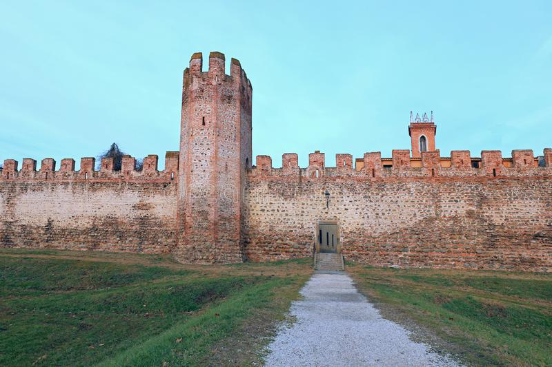 medieval defensive walls of the city of MONTAGNANA in the Veneto stock photos