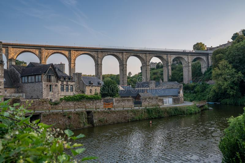 Medieval Dinan Port France bridge and river view stone buildings. stock image
