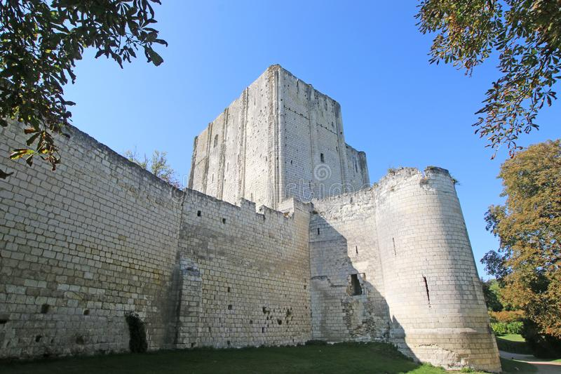 Loches Donjon and keep. Medieval donjon and keep in Loches, France stock photo