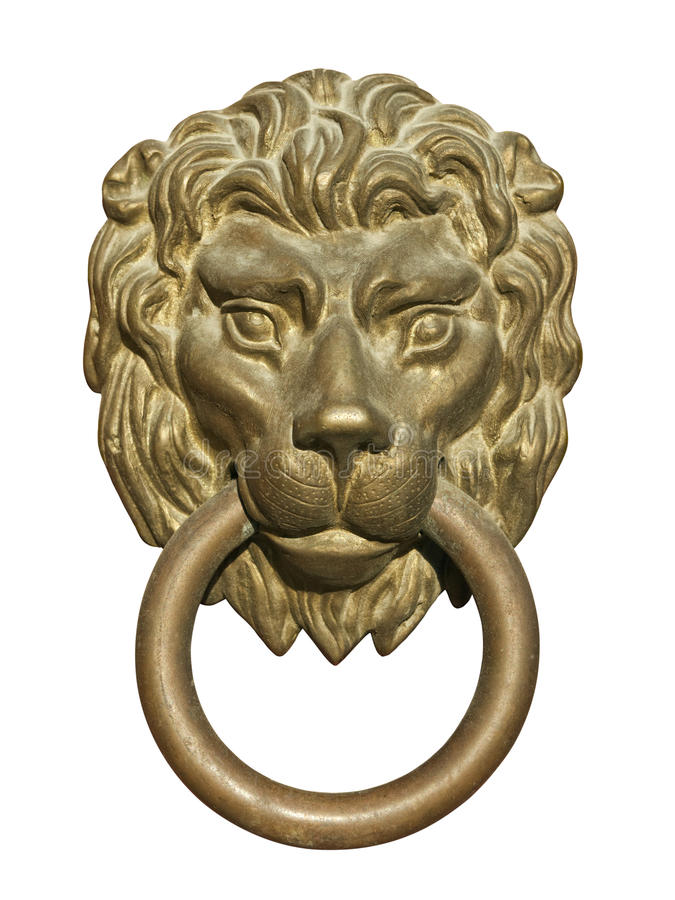 Medieval door knocker, bronze lion head cutout stock photo