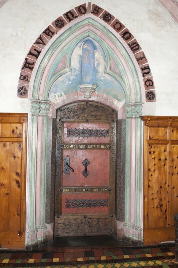 Medieval door Malbork Castle, Poland stock photo