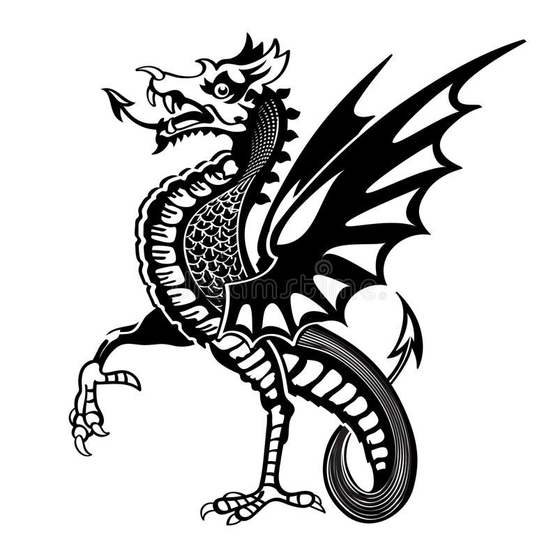 Medieval dragon. Vintage medieval dragon drawing isolated vector illustration
