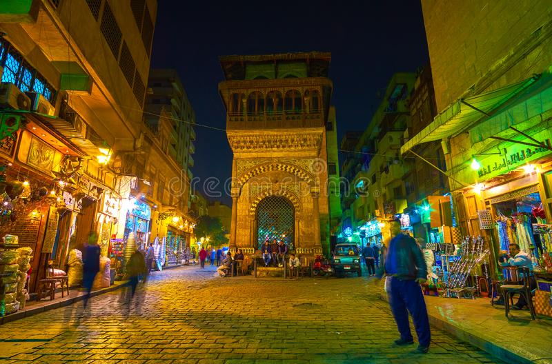 The medieval edifice with beautiful decorations, Cairo, Egypt. CAIRO, EGYPT - DECEMBER 20, 2017: The beautiful medieval Sabil-Kuttab of Katkhuda located on the royalty free stock photography