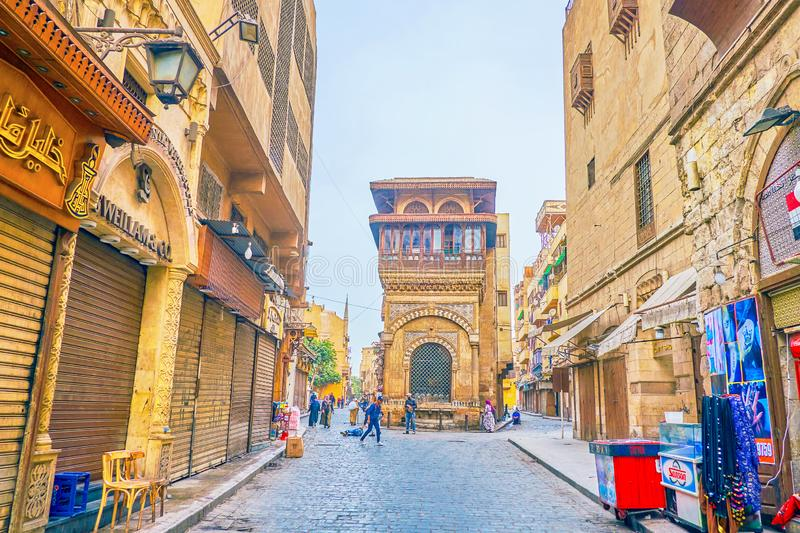 The medieval edifices of Islamic Cairo, Egypt. CAIRO, EGYPT - DECEMBER 23, 2017: The beautiful medieval Sabil-Kuttab of Katkhuda building faces the Al-Muizz royalty free stock images