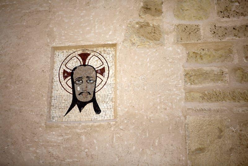 Medieval emblem in the Castle of Santa Bárbara,. Alicante Spain stock photos