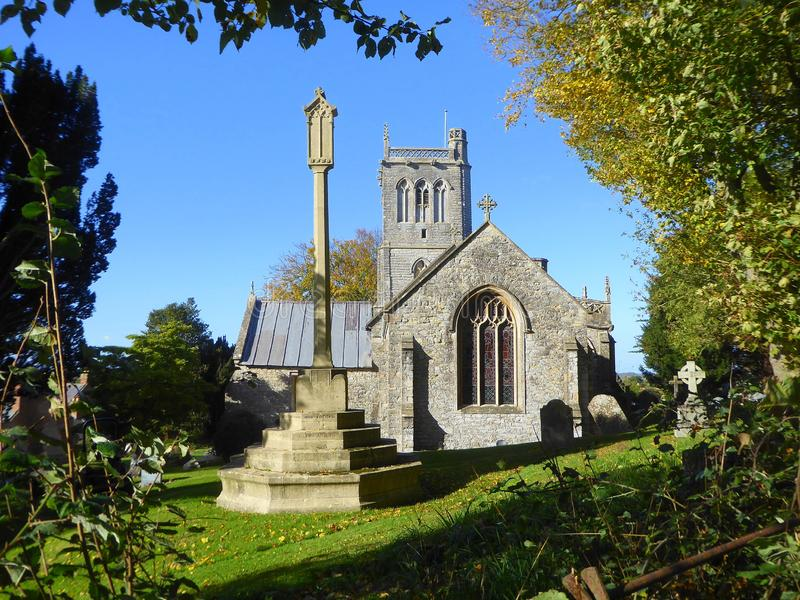 Medieval English church and churchyard stock photos