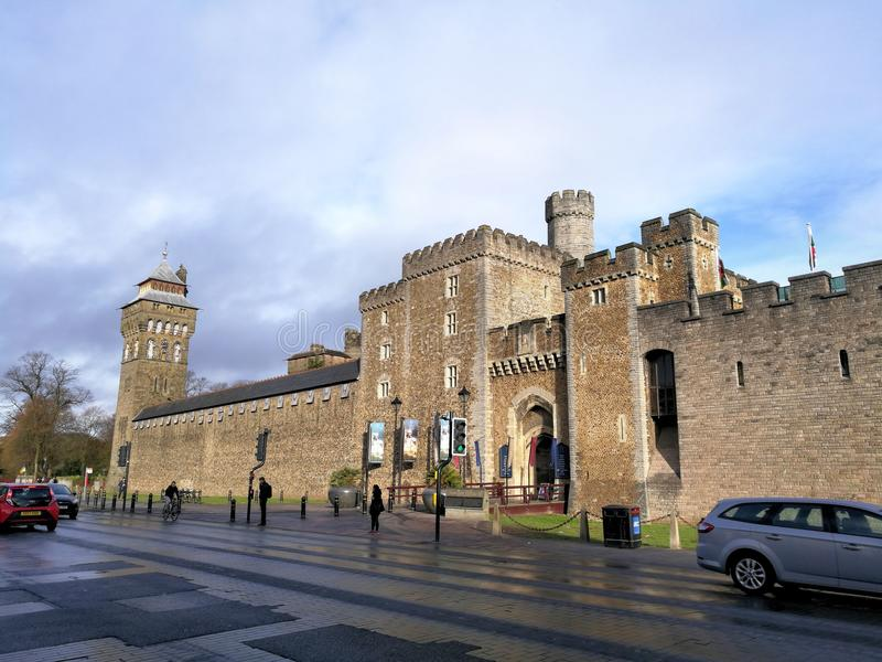 Keep in Cardiff castle Wales, United Kingdom. Medieval entrance in Cardiff Castle located in Wales United Kingdom on a clear spring day stock images