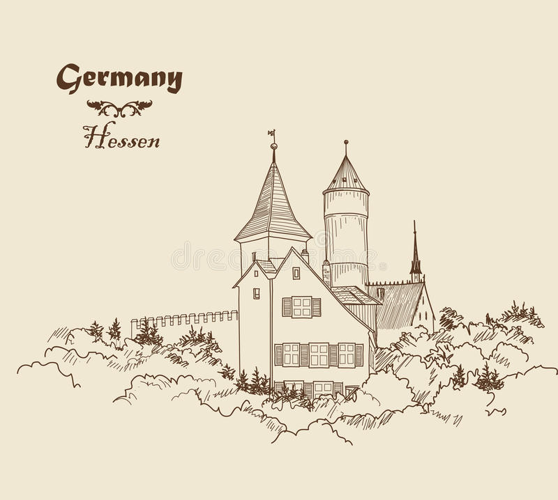 Medieval european castle landscape. Pencil drawn sketch of ancient building with tower. Travel Germany Background. Castle building on the hill skyline etching royalty free illustration