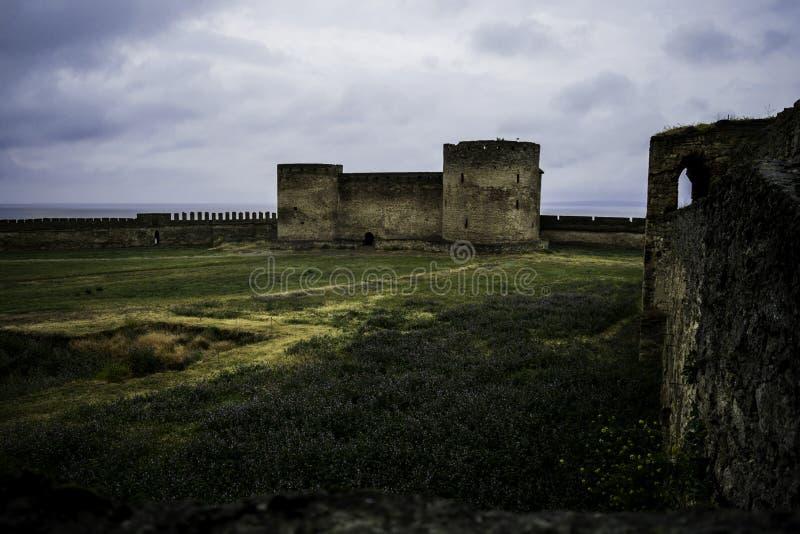 Medieval European castle on a rainy day. Castle, fort, medieval castle. European Castle. Belgorod-Dnistrovsky fortress. Medieval fortress, fortress stock photography
