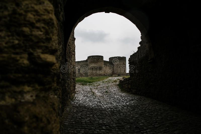 Medieval European castle on a rainy day. Castle, fort, medieval castle. European Castle. Belgorod-Dnistrovsky fortress. Medieval fortress, fortress royalty free stock image