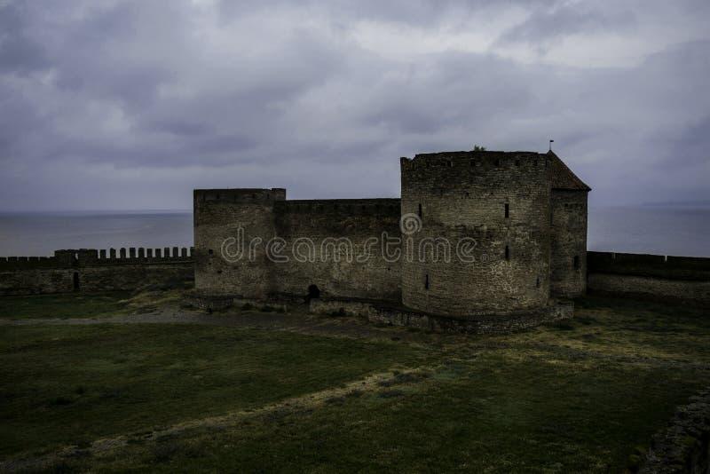 Medieval European castle on a rainy day. Castle, fort, medieval castle. European Castle. Belgorod-Dnistrovsky fortress. Medieval fortress, fortress stock photos