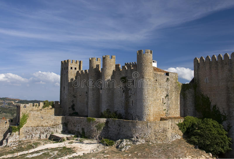 Medieval European Fortress with towers. Portugal, Obidos stock photo
