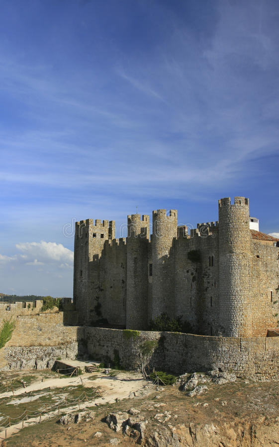 Medieval European Fortress with towers. Portugal, Obidos royalty free stock photography