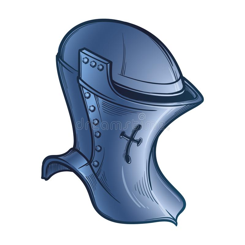 Medieval European helmet belonging to the heaume type. Side view. Heraldry element. Painted sketch isolated on white. Background. EPS10 vector illustration vector illustration