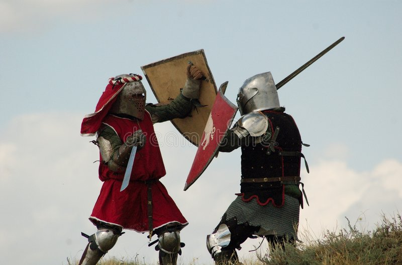 Medieval European knights fighting stock photo
