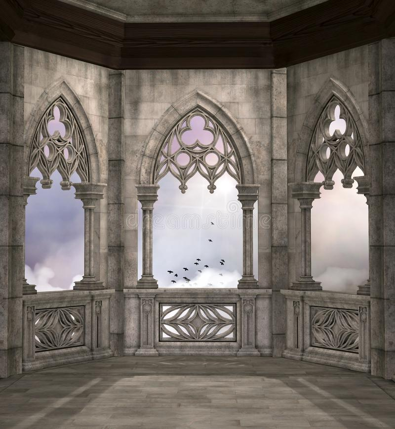 Medieval fantasy balcony overlooking a cloudy sky. With flying birds – 3D illustration stock illustration