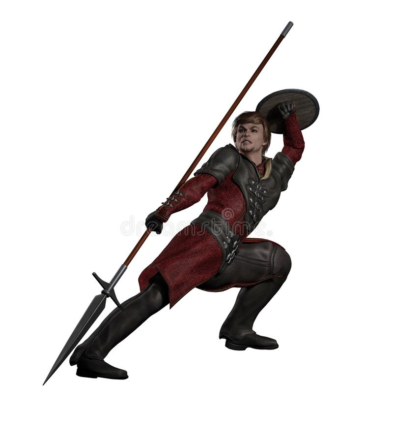Medieval or Fantasy Spearman Fighting. Late Medieval, Renaissance or fantasy style spearman in black leather armour in a fighting pose, 3d digitally rendered royalty free illustration