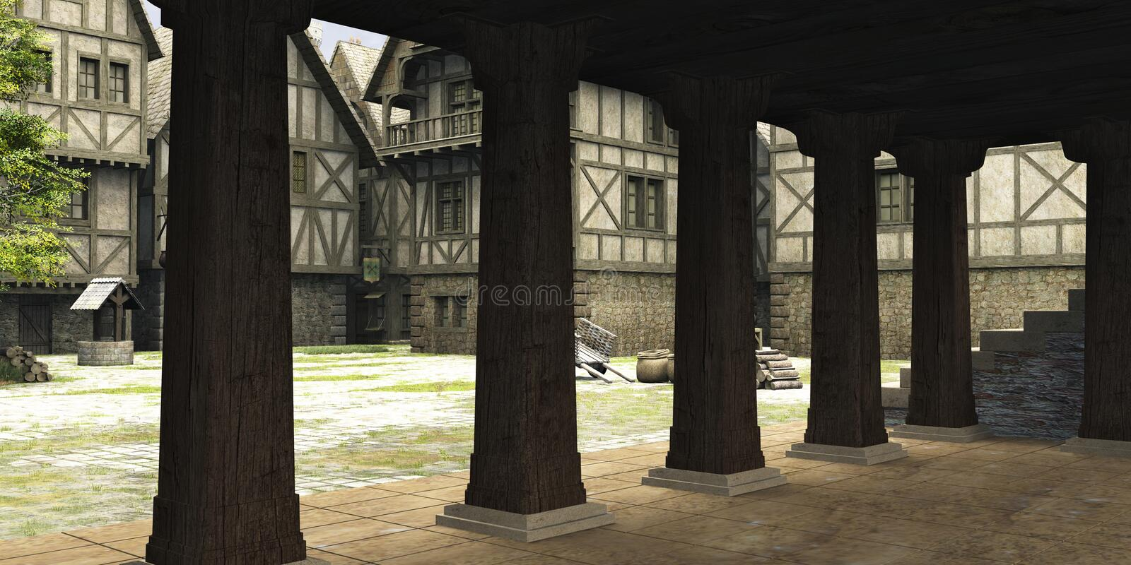 Medieval or Fantasy Town Centre Markethall. View from inside the market hall in the centre of a Medieval or fantasy style town towards the open marketplace, 3d stock illustration