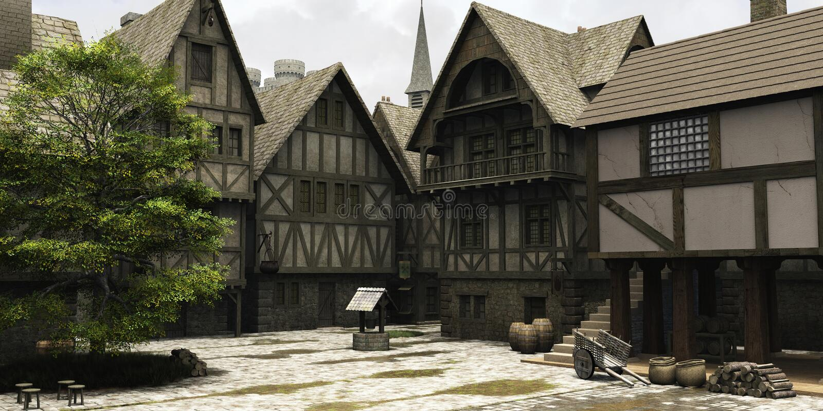 Medieval or Fantasy Town Centre Marketplace vector illustration