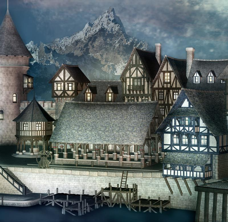 Fantasy village in the highlands stock illustration