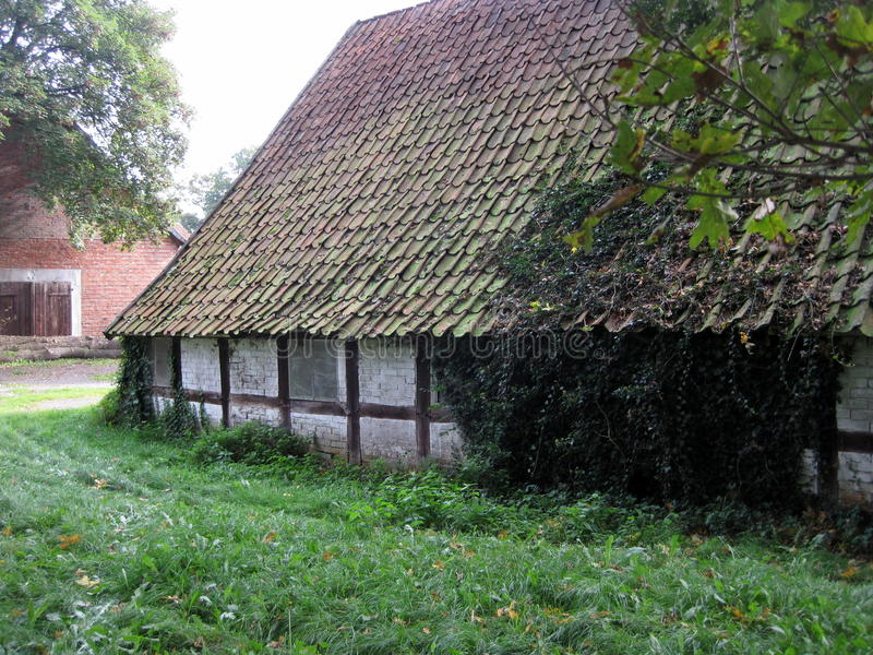 Background. Old farm house. Germany. Beautiful medieval old farm house in Germany. Ankum royalty free stock photo