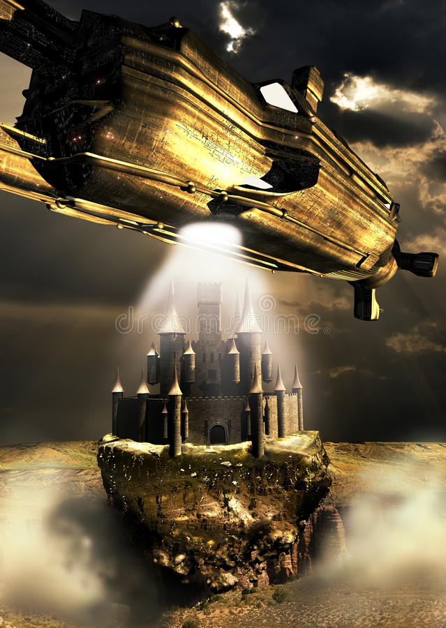 Medieval fiction. An alien spacecraft takes out of the ground a medieval castle vector illustration