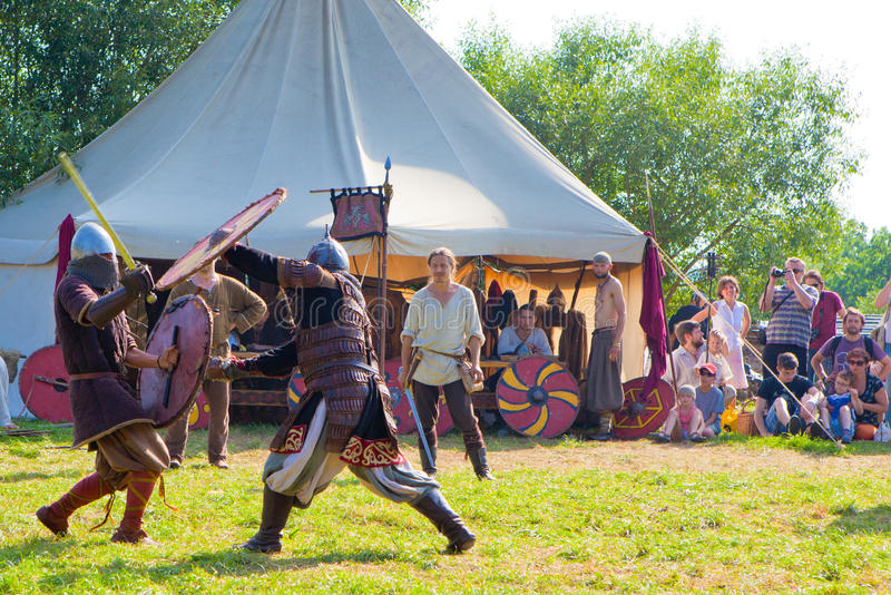 Medieval fights stock images