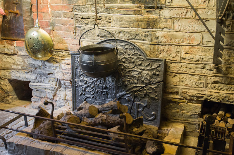 Medieval fireplace royalty free stock photos