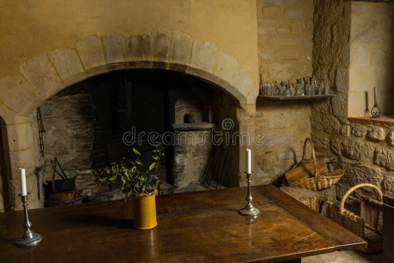 Medieval fireplace på franska chateau royaltyfri foto